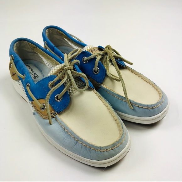 9244302 Buy One Give One Sperry Top-sider Tan/blue Mesh Leather Boat Shoes Womens Size 8.5m